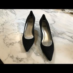 Stuart Weitzman Black Lace and Jewel Kitten Heel